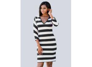 Alba Moda Strandkleid aus Rippware schwarz-weiß Damen Knielange Kleider Maschenkleider