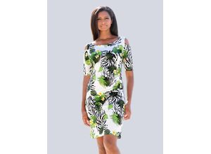Alba Moda Strandkleid im Off-Shoulder Style grün, bunt Damen Freizeitkleider Kleider Maschenkleider