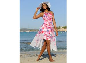 Alba Moda Strandkleid in Doppeloptik pink Damen Knielange Kleider