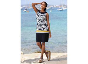 Alba Moda Strandkleid mit Blätterdruck blau Damen Knielange Kleider