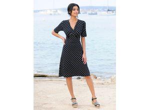 Alba Moda Strandkleid mit Drapierung schwarz-weiß Damen Freizeitkleider Kleider Maschenkleider