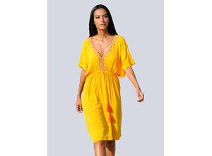 Alba Moda Strandkleid mit Stickerei gelb Damen Freizeitkleider Kleider Maschenkleider