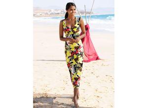 Alba Moda Strandkleid mit Wickeloptik gelb Damen Lange Kleider