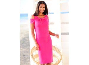 Alba Moda Strandkleid mit glitzernden Zierkugeln pink Damen Knielange Kleider Maschenkleider