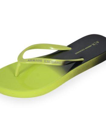 Armani Exchange Xdq007 Xv319 Damen Bade Zehentrenner Flip Flops Peridot/black Grün/gelb M849