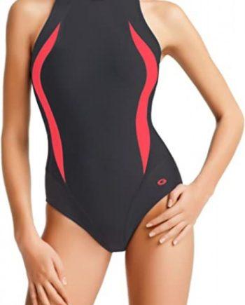 Badeanzug - Schwimmanzug Lena I graphit/pink