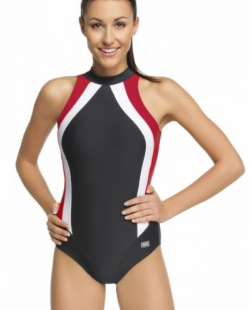Badeanzug | Schwimmanzug Olivia I grau, weiss, rot