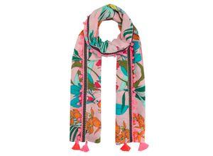 Codello Exotik-Print Pareo aus Baumwolle mit Trend-Tassels rosa Damen Halstücher Schals, Loops Tücher Accessoires