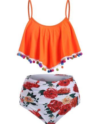 Flounce Pompom Trim Ruched Print Tankini Swimwear