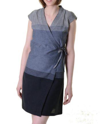Mini-Wickelkleid aus Baumwolle in Grau/Schwarz - Goa Sommerkleid