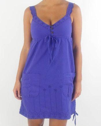 O'Neill Trägerkleid Sommerkleid Dress lila Lochstickereien Taschen