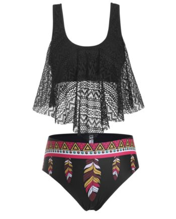 Plus Size Lace Overlay Feather Print Tankini Swimwear