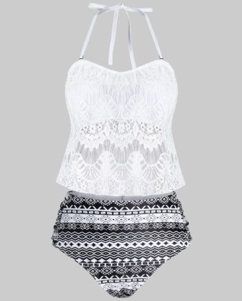 Plus Size Lace Overlay Geometry Tankini Swimwear