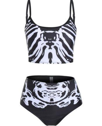 Skeleton Print Cami Tankini Swimwear