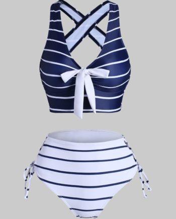 Striped Criss Cross Lace Up Bicolor Tankini Swimwear