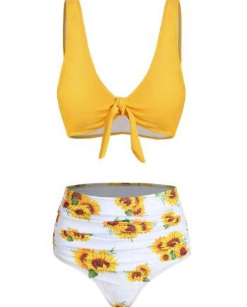 Sunflower Knot Ruched Bikini Swimsuit