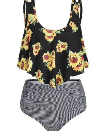 Sunflower Striped Ruched Tankini Set