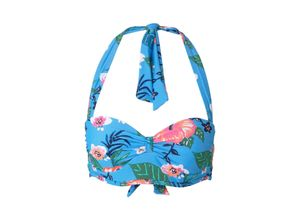 TOM TAILOR Damen Bikini-Top mit Blumenmuster, blau, gemustert, Gr.40B