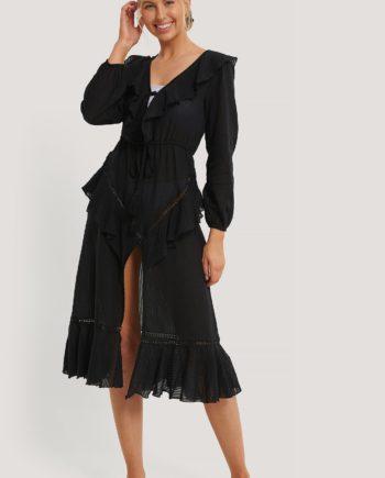 Trendyol Besticktes Voile-Strandkleid - Black