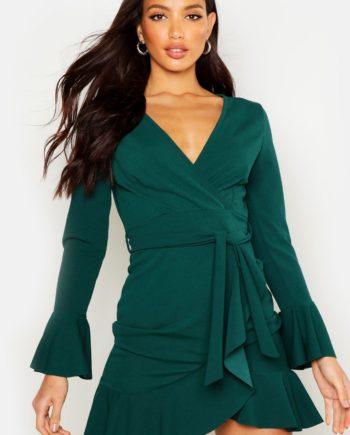 Womens Gerüschtes Sommerkleid Mit Bindegürtel - Smaragdgrün - 38, Smaragdgrün