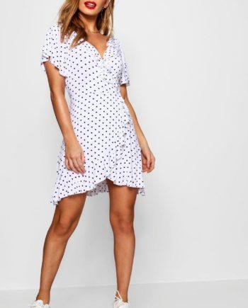 Womens Petite - Sommerkleid Im Wickeldesign Mit Rüschen Und Pünktchen - Weiß - 30, Weiß
