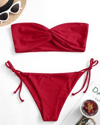 ZAFUL Bandeau Bikini Badebekleidung mit Seitlichem Bindeband