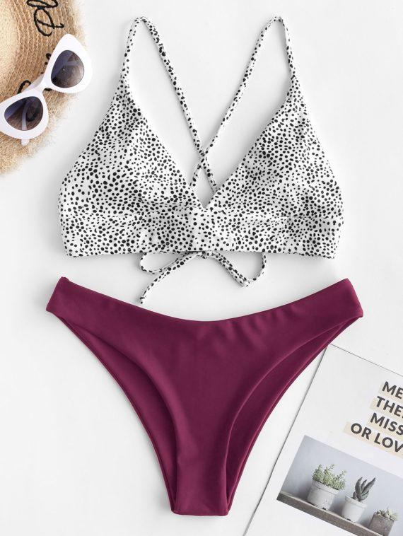 ZAFUL Bikini-Badeanzug mit Gekreuzten und Dalmatinischen Punkten