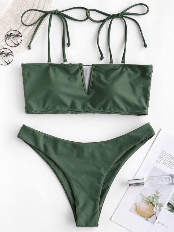 ZAFUL Bikini-Badeanzug mit V-Kabel und Geraffter Krawatte