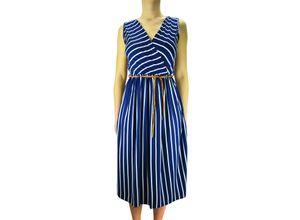 Zauberstern Sommerkleid in tollem Streifen-Design blau Damen Knielange Kleider