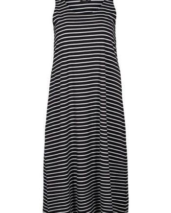 Zizzi Sommerkleid Damen Jersykleid Ärmellos Loose Casual 7/8 Langes Kleid Große Größen