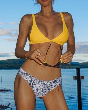 Leopard Hohe Schlitz Bikini Set