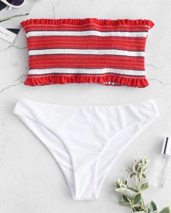 ZAFUL Bikini-Set mit Rüschenstreifen